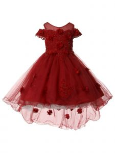 Big Girls Burgundy Pearl Off Shoulder Hi Low Christmas Dress 8-12