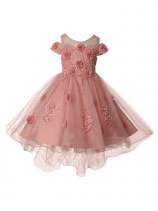 Girls Multi Color Pearl Off Shoulder Hi Low Flower Girl Dress 2T-12