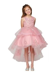 Girls Multi Color Pearl Applique Hi Low Flower Girl Dress 2T-12