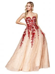 Amelia Couture Womens Red Flower Lace Open Back Maxi Dress 2-14