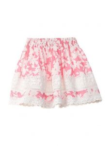 Azul Little Girls Pink Floral Notes Print Lace Detailed Casual Skirt 2T-7