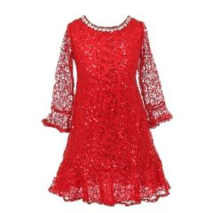 Little Girls Red Sequin Adorned Crochet Lace Christmas Dress 2-6