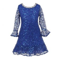 Little Girls Royal Blue Sequin Adorned Crochet Lace Christmas Dress 2-6