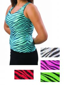 Pizzazz Women Multi Color Zebra Glitter Racer Back Top Adult S-2XL