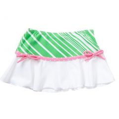 Azul Girls Green Pink Stripe Dot Candy Crush Trendy Swim Skirt 2T-10