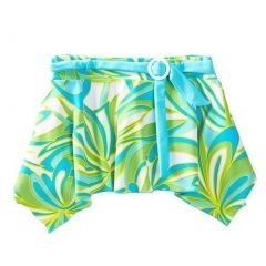 Azul Girls Green Blue Happy Spring Print Belted Trendy Swim Skirt 4-14
