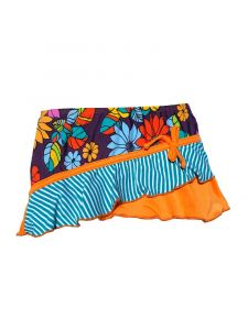 Azul Little Girls Orange Purple Paradise Asymmetrical Ruffle Skirt 2T