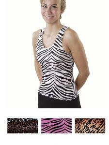 Pizzazz Women Multi Color Animal Print Racer Back Top Adult S-2XL