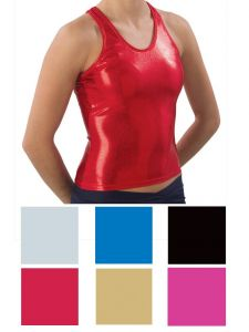 Pizzazz Women Red Metallic Racer Back Top Adult Large