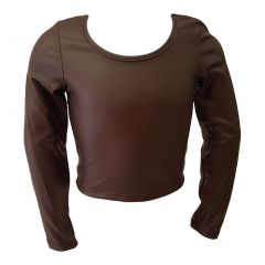 Little Girls Brown Faux Leather Soft Touch Long Sleeved Trendy Blouse 4-6