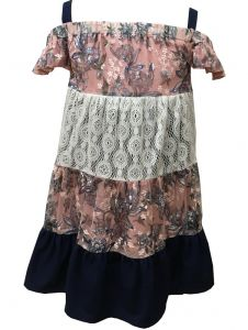 Caeli Kids Little Girls Pink Navy Lace Denim Reversible Summer Dress 4-6X