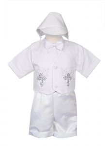 Rain Kids Baby Boys White 4 pc Rhinestone Cross Vest Hat Baptism Outfit 3-24M