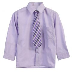 Big Boys Lilac Tie Long Sleeve Button Special Occasion Dress Shirt 8-20