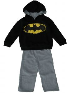 DC Comic Big Boys Batman 2pc Black Hooded Sweatshirt Gray Pants Outfit 7-16