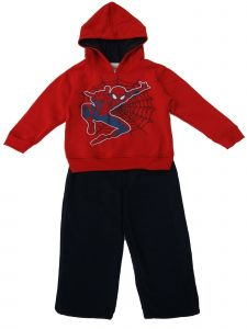 Marvel Little Boys Spiderman 2pc Red Hooded Sweatshirt Black Pants Outfit 4-6