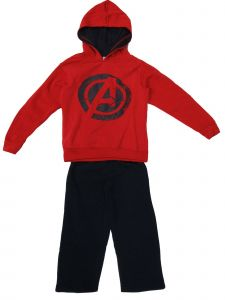 Marvel Little Boys Avengers 2pc Red Hooded Sweatshirt Blue Pants Outfit 4-6
