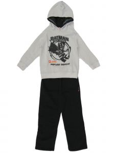 DC Comic Little Boys Lego Batman Gray Hooded Sweatshirt Black Pants Outfit 5-6