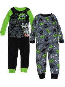 Disney Little Boys Black Green Star Wars Darth Vader 2 pair 2pc Pajama Sets 4-6
