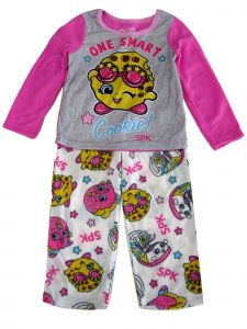 "Shopkin Little Girls Pink White ""Smart Cookie"" 2pc Pajama Set 4-6"