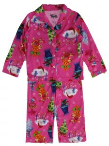 Dreamworks Big Girls Pink Trolls Christmas Long Sleeve 2pc Pajama Set 8-10