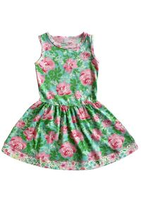 AnnLoren Big Girls Green Pink Floral Sleeveless Dress 7-12