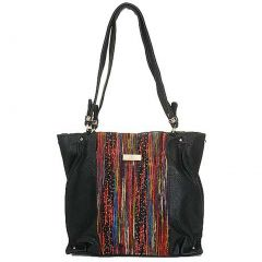 Aryana Chic Black Multi Color Print O Ring Single Strap Womens Purse