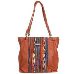Aryana Chic Brown Multi Color Print O Ring Single Strap Womens Purse