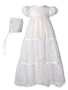 Baby Girls White Layered All Over Lace Bonnet Dress Christening Outfit 0-12M