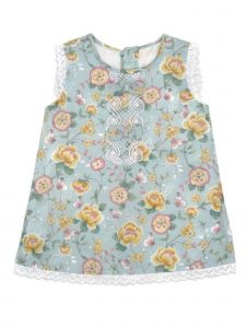 Coquelicot Little Girls Gray Bow Accent Alessia Floral Sicilia Lined Dress 2-5T