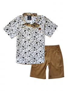 American Hawk Little Boys Multi Color 2 Pc Short Sleeve Shirt Shorts Outfit 4-7