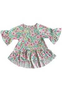 AnnLoren Girls Multi Color Angel Sleeve Boutique Ruffle Top Shirt 2T-8