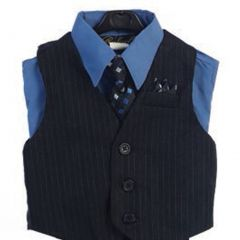 Angels Garment Blue 4 Piece Pin Striped Vest Set Boys Suit 5-20