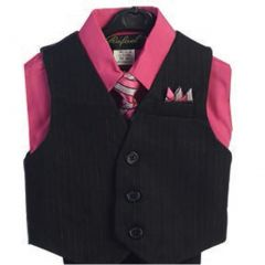 Angels Garment Hot Pink 4 Piece Pin Striped Vest Set Boys Suit 5-20