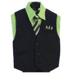 Angels Garment Lime Green 4 Piece Pin Striped Vest Set Boys Suit 5-20