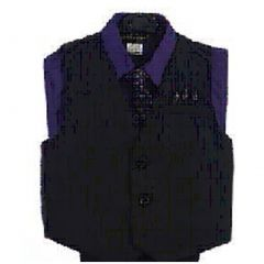 Angels Garment Purple 4 Piece Pin Striped Vest Set Boys Suit 5-20