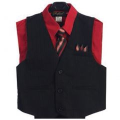 Angels Garment Red 4 Piece Pin Striped Vest Set Boys Suit 2T-4T