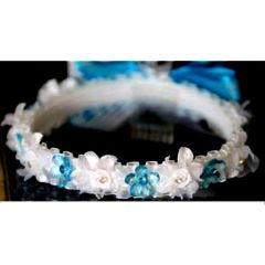 Angels Garment Girls White Blue Flower Ribbon Wreath First Communion