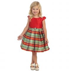 Angels Garment Big Girls Red Plaid Bow Brooch Special Occasion Dress 7-10