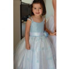 Angels Garment Light Blue Faux Shantung Flower Girl Dress 2T-6