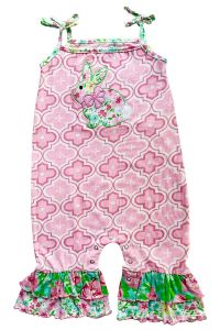 AnnLoren Baby Girls Pink Spring Floral Easter Bunny Rabbit Romper 6-24M