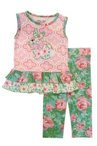 AnnLoren Little Girls Pink Floral Easter Bunny Rabbit Tunic Leggings Outfit 2T-6X