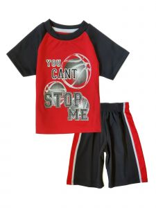 Baby Boys Red 2 Piece Mesh Basketball Jersey T Shirt Shorts Athletic Set 12M-4T