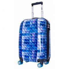 """ATM Luggage Blue 3-D Hard Exterior Finish Carry Handle Four Wheels 22"""" Spinner"""