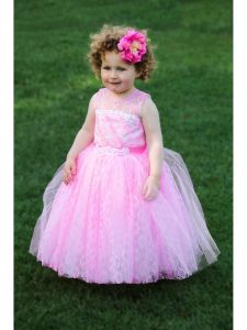 TriumphDress Girls Pink Beaded Multi-Layer Agness Flower Girl Dress 1-10