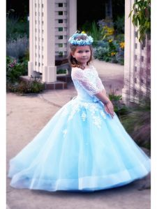 TriumphDress Big Girls White Blue Off-Shoulder Aileen Flower Girl Dress 6-12
