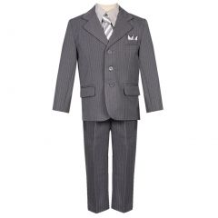 Little Boys Gray Pinstripe 5 Piece  Vest Jacket Pants Special Occasion Suit 2-7