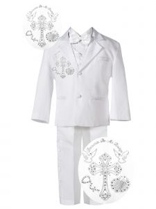 Baby Boys White Shirt Embroidered Jacket 5 Pc Christening Suit 6-24 Months