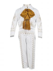 Boys White Embroidered Vest Jacket 5 Pc Baptism Suit 2-8