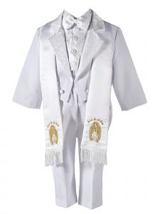 Boys White Embroidered Tuxedo Jacket 6 Pc Baptism Suit 6 Months-7