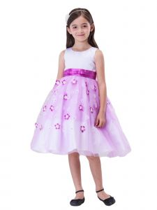 Amberry Little Girls Lilac Overlaid 3D Lace Flowers Flower Girl Dress 2T-6
